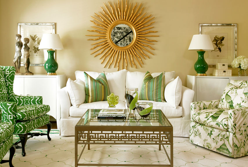 Green colour trend green accessories in a stylish living room