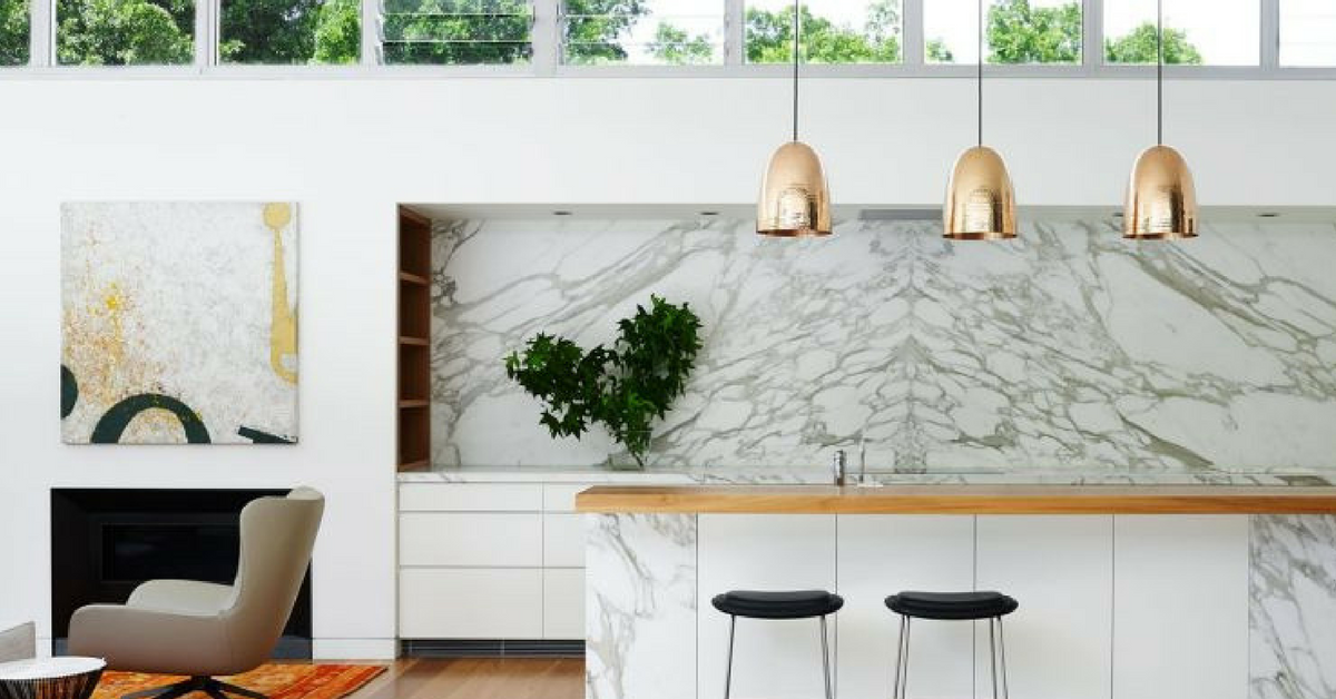 interior design trends marble kitchen with copper accents