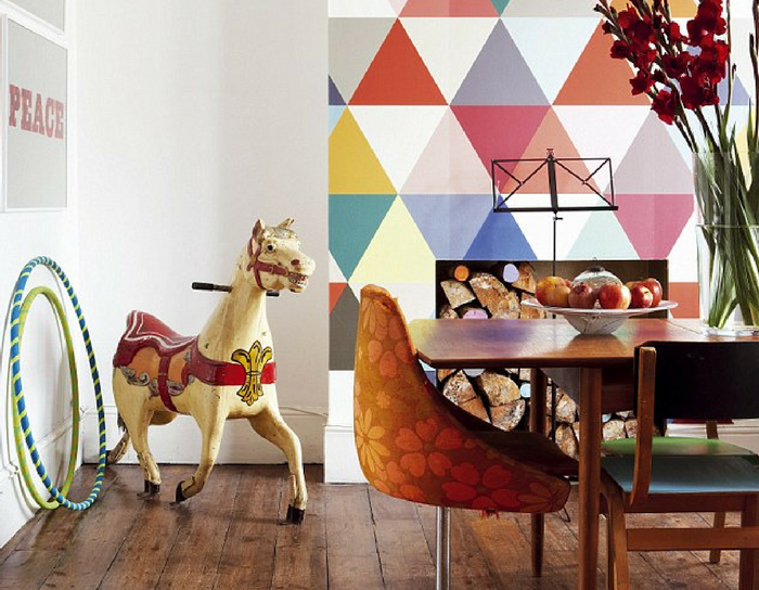 playful interiors multicoloured triangle dining room