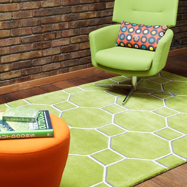 Green colour trend hexagon green coloured rug