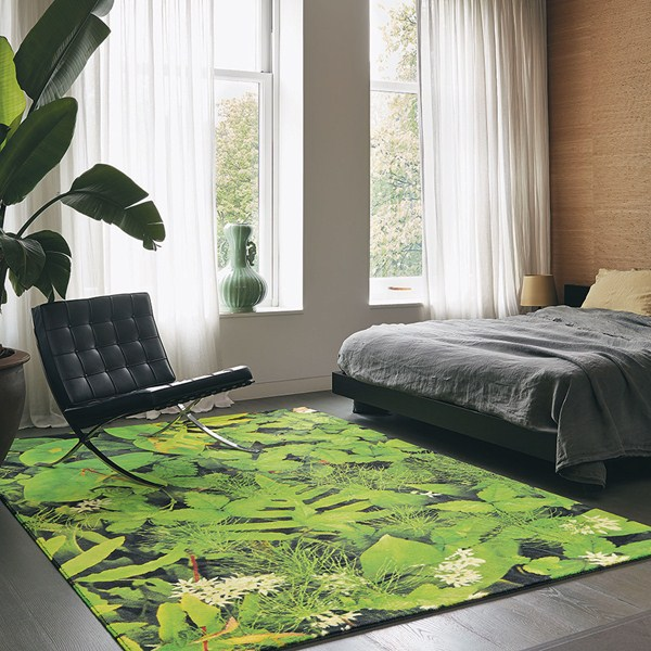 Green colour trend floral green coloured rug