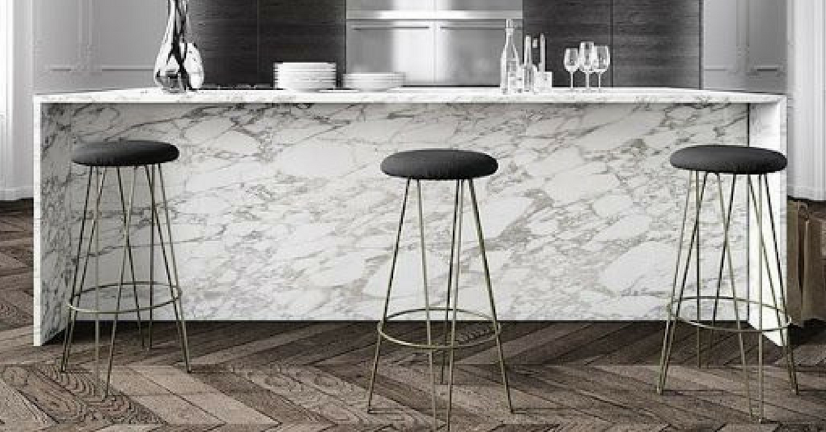 interior design trends marble kitchen with 3 stools