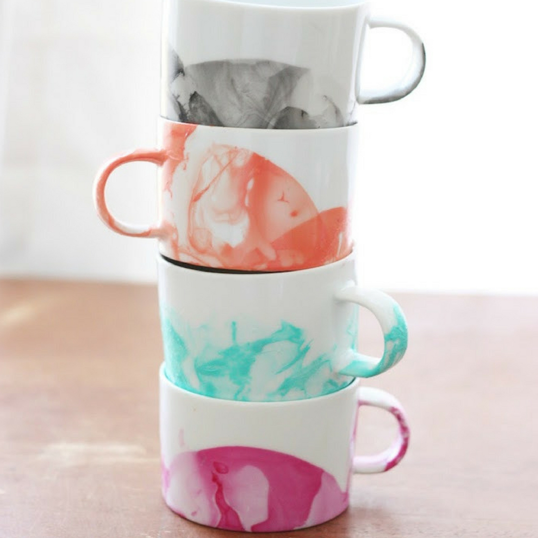 Mother's Day DIY Marbled Mugs with Nail Polish