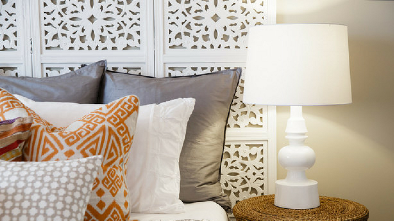 White Room Divider As A Headboard