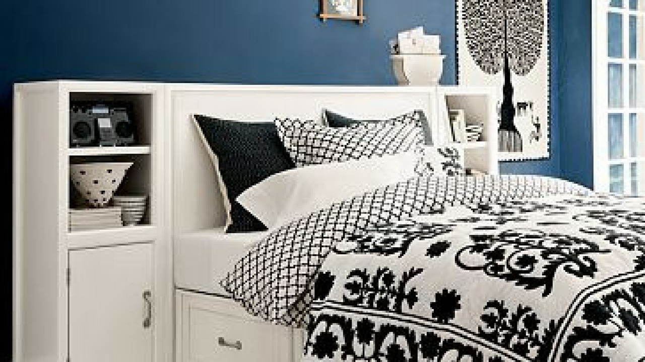White Storage As A Headboard