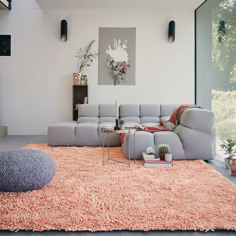 Blush Pink Shaggy Rug In A Plain Style Living Room Part 68