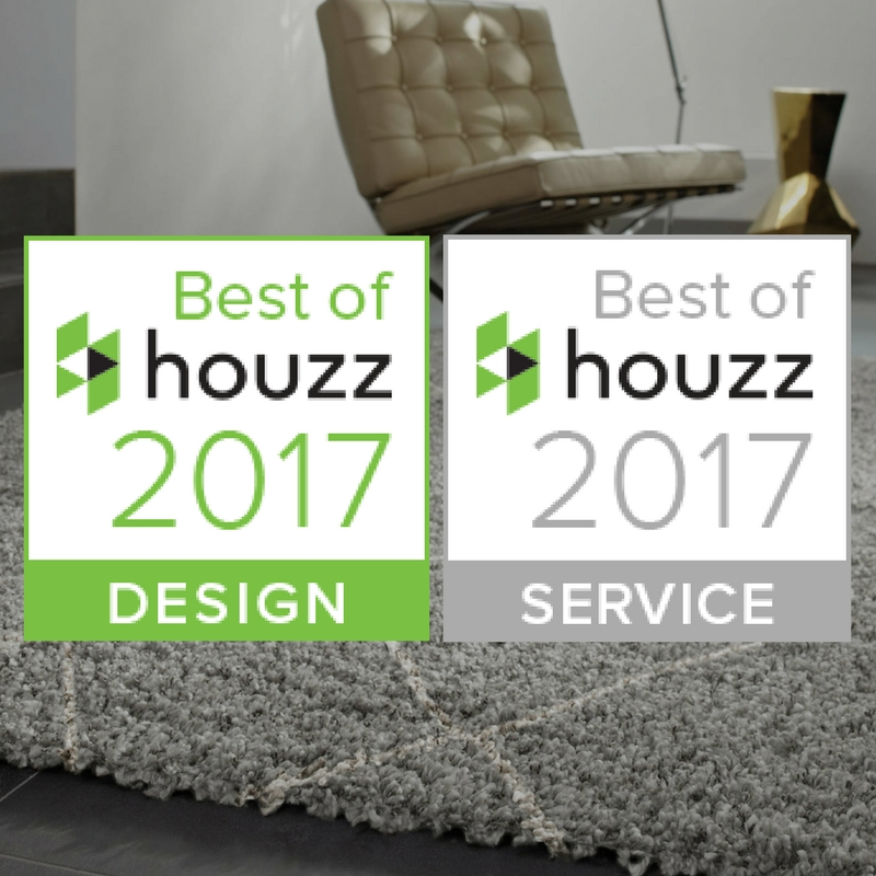 houzz best of design and customer service on a grey shaggy rug