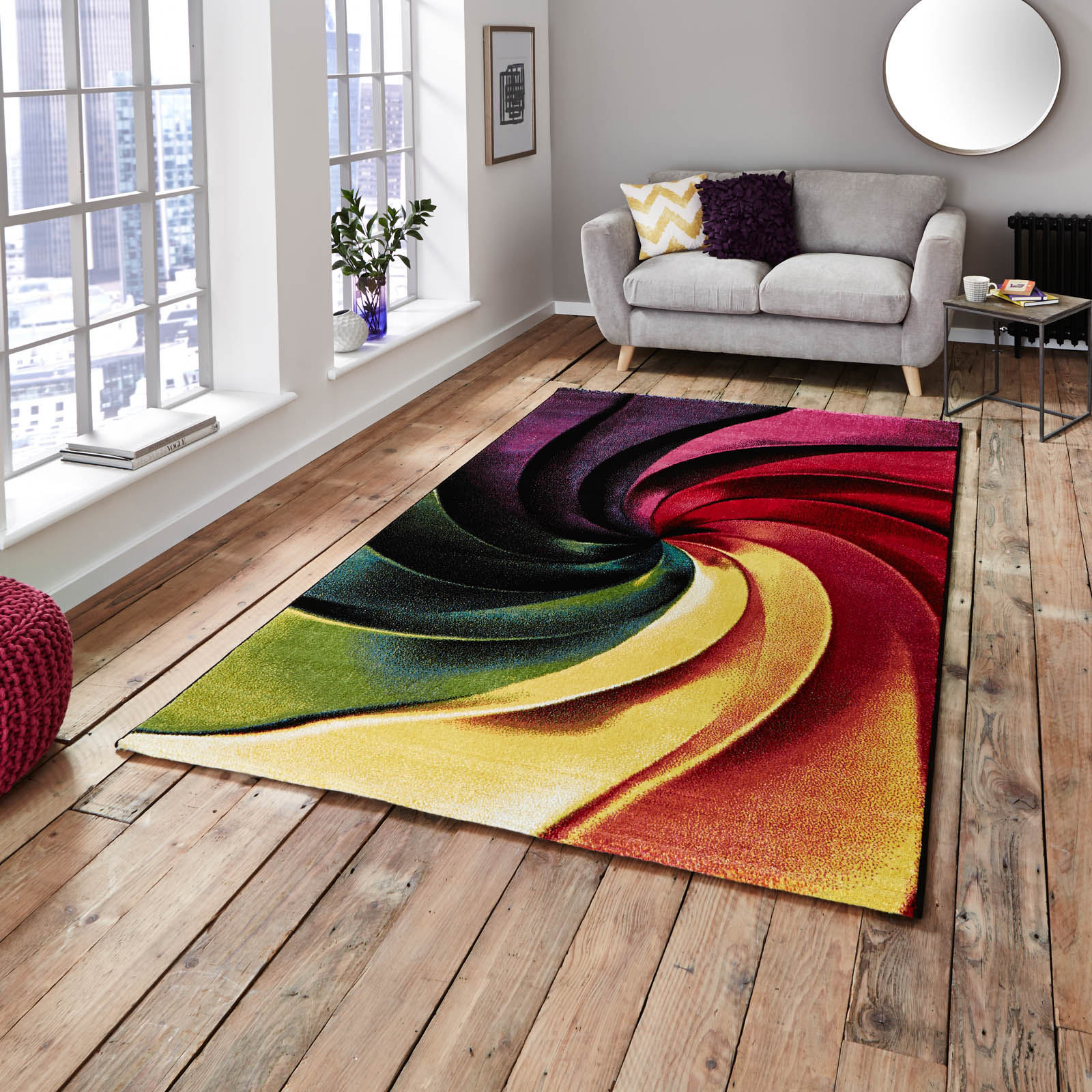 Spring competition Multi-coloured rectangular rug in a living room setting