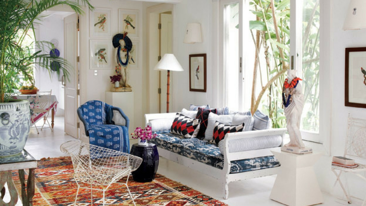 bohemian rug in a modern living room setting