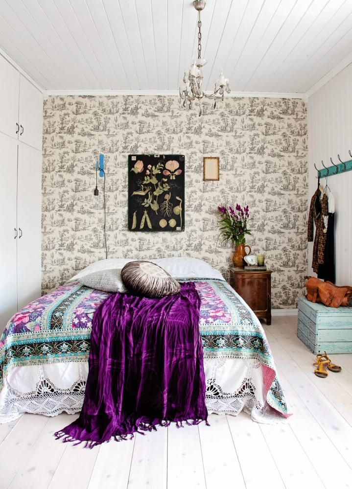 bohemian styled bedroom decor