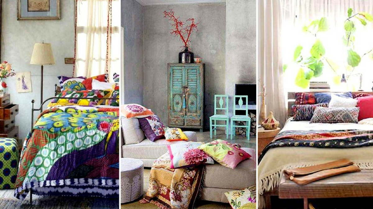 three bohemian bedroom interiors