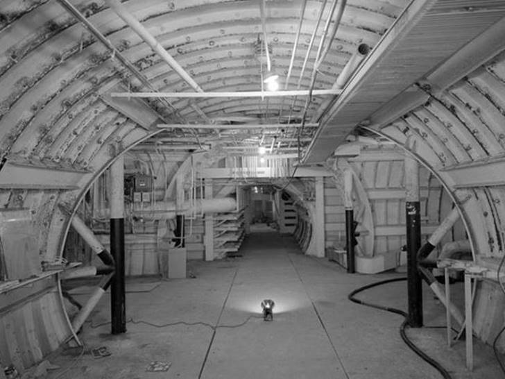 The black and white interior of a decommissioned military base