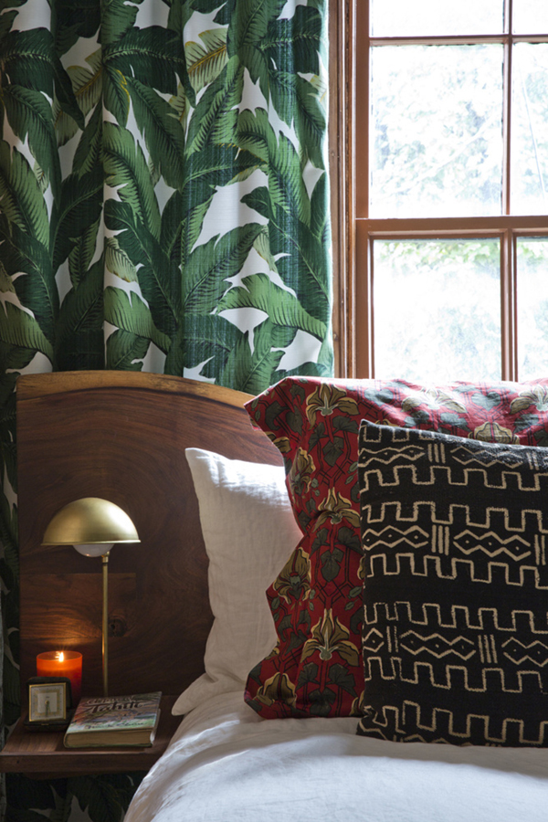 leaf print curtains botanical design