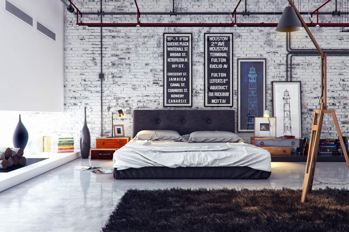 Minimal Bedroom In The Industrial Interior Style With Black Rug And White  Washed Exposed Brick Work
