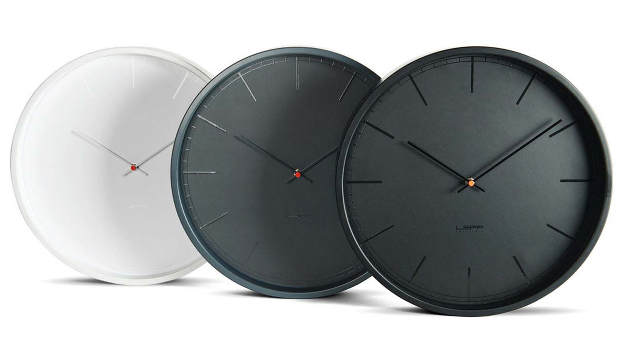 Modern industrial style clock in 3 colours grey black and white