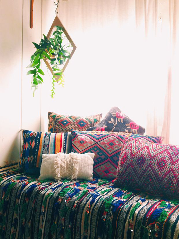 bohemian sofa with mix and match cushions