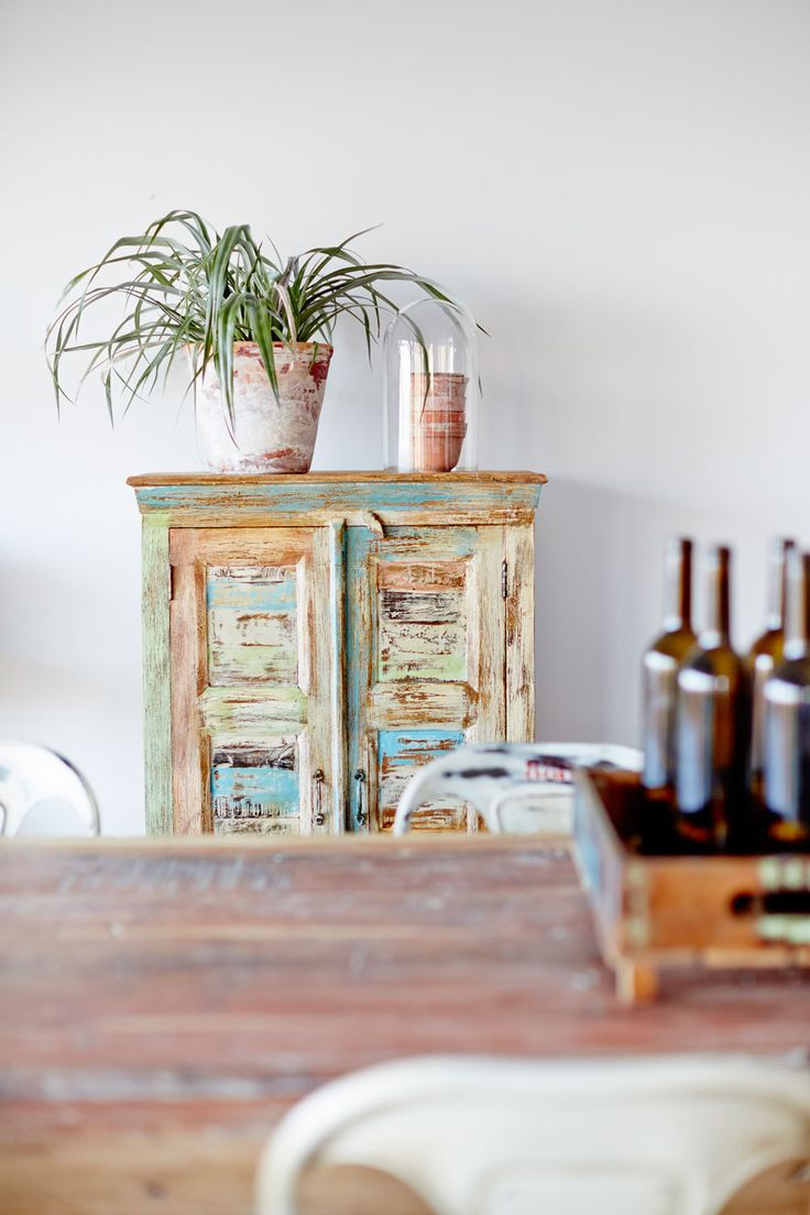 old recycled set of draws with a plant on top