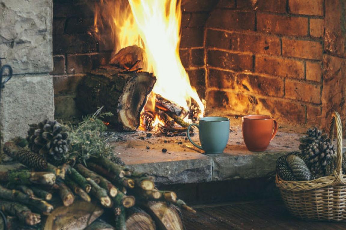 hygge socks in front of warm wood fire