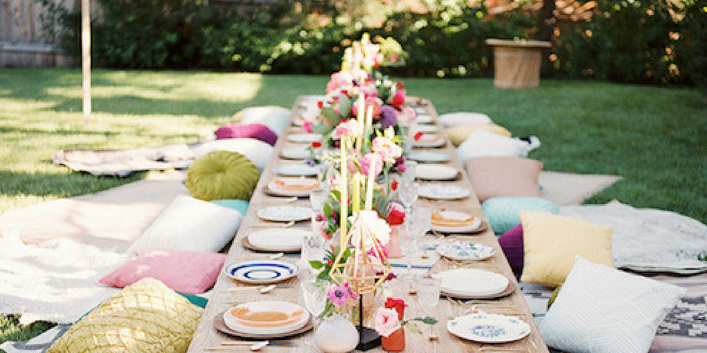garden party seating arrangement pillows and cushions