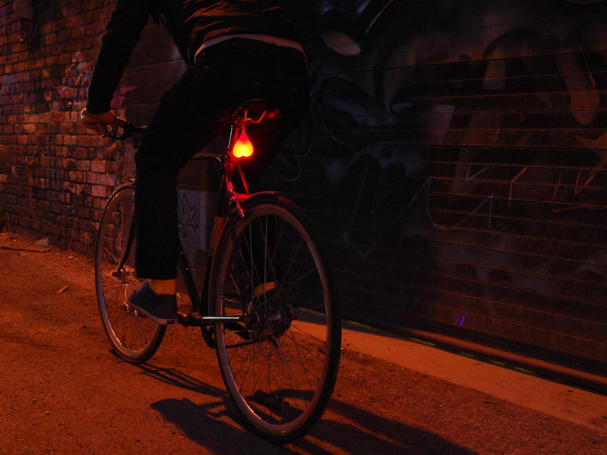 Red bike light in the shape of balls