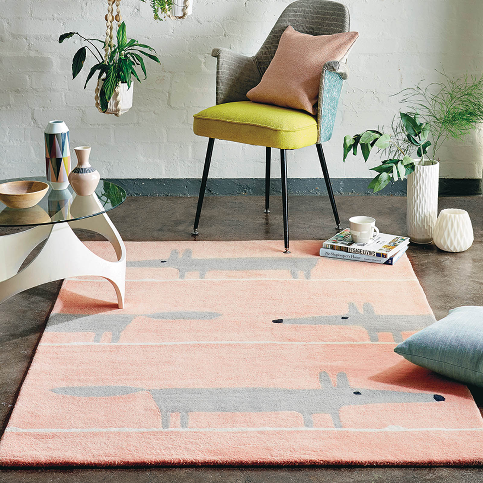 Scion Mr Fox Rugs in Blush Pink