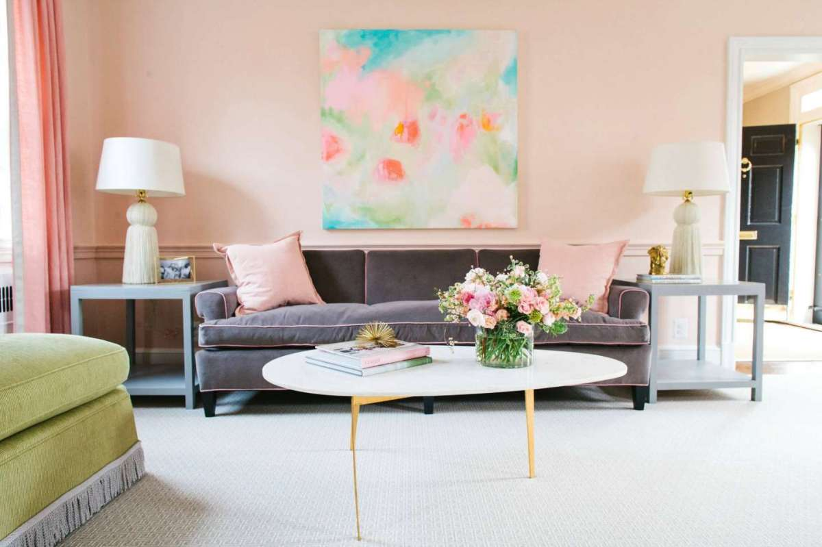summer inspired pink living room