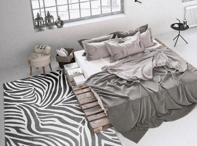 loft scandinavian appearance loft interior with a zebra print rug