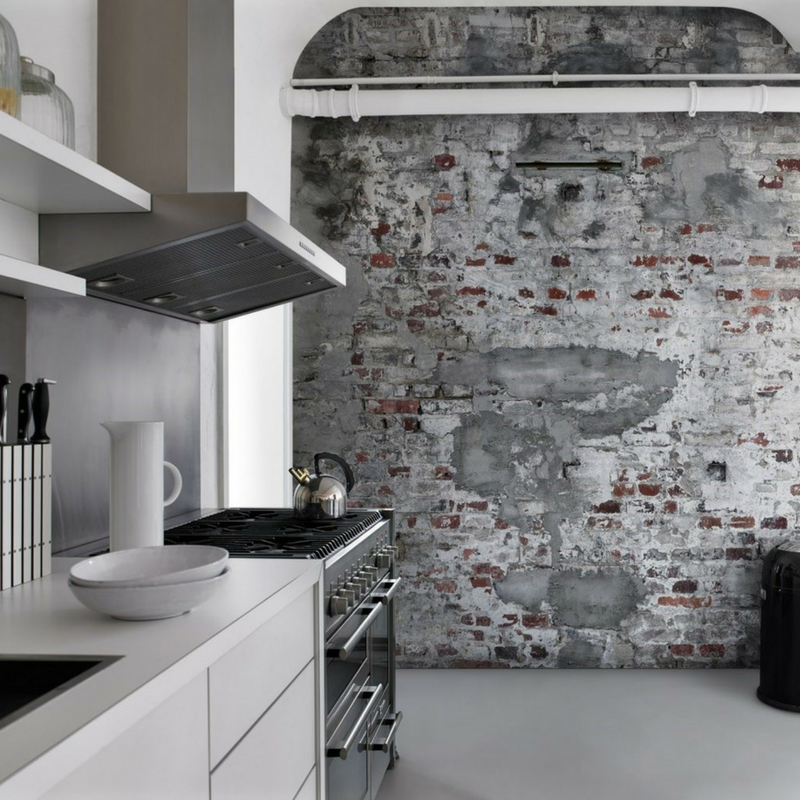exposed brick in a game of thrones style kitchen