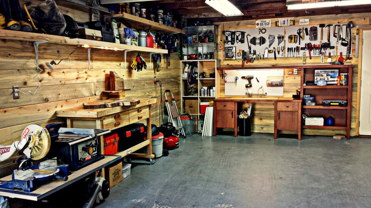 man cave filled with tools
