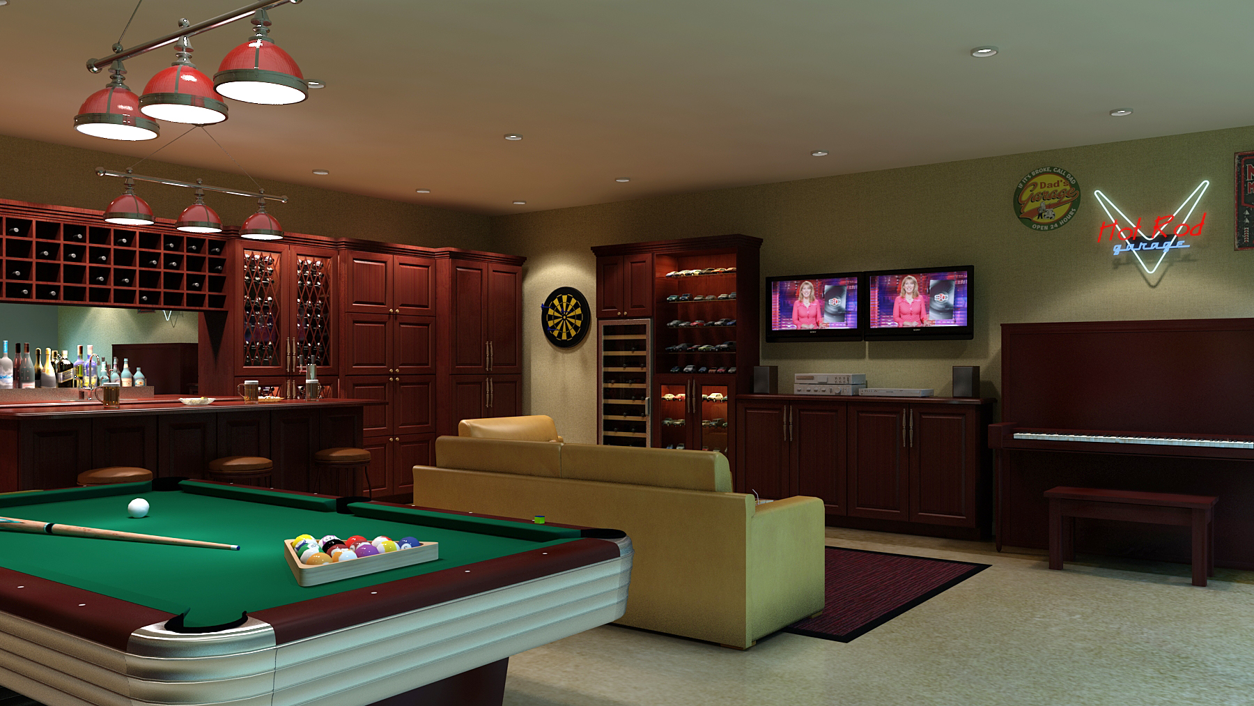 Classic Man Cave Game : Basement man cave design ideas for men manly home interiors