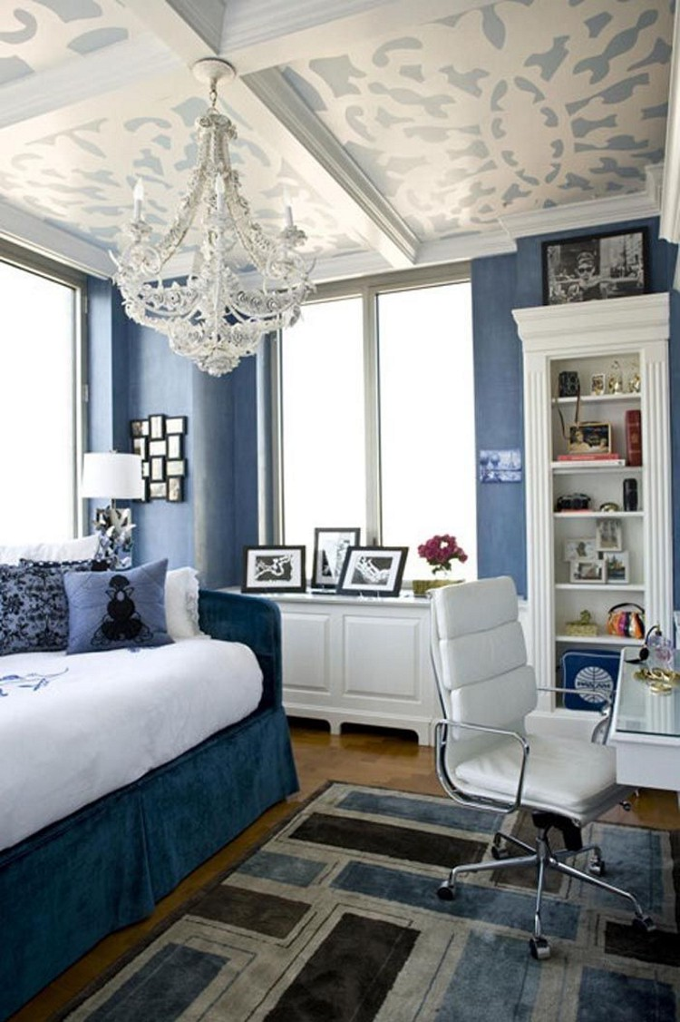 inspirational ceiling design in a blue bedroom