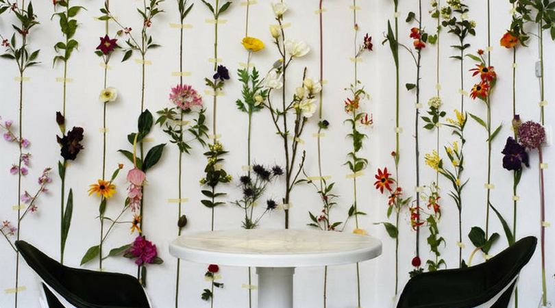flower chains hanging on white wall