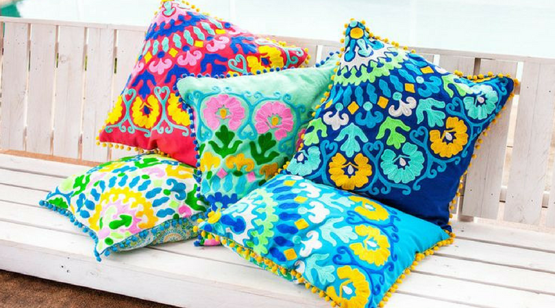 brightly coloured summer cushions