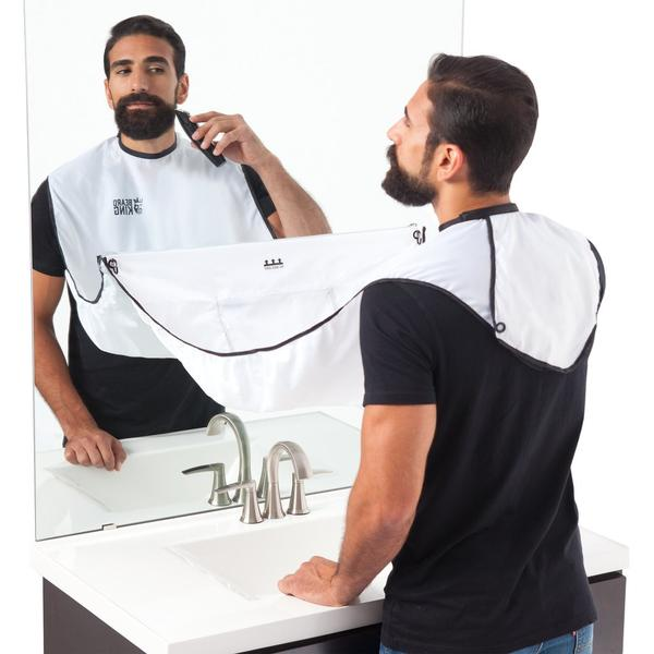 white Beard bib with man shaving into it