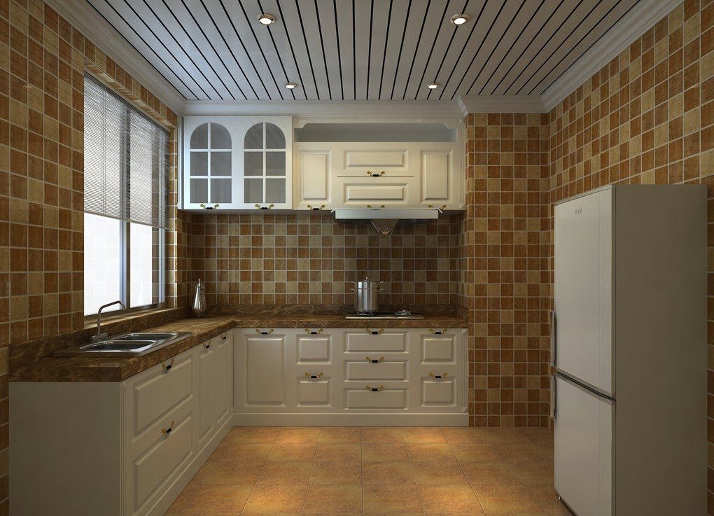funky ceiling design in a modern kitchen