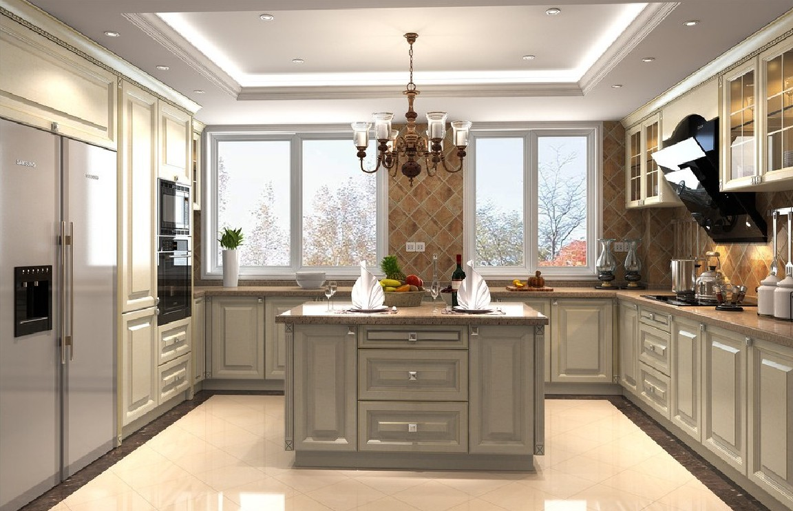 lighting as the ceiling in a brightly lit kitchen