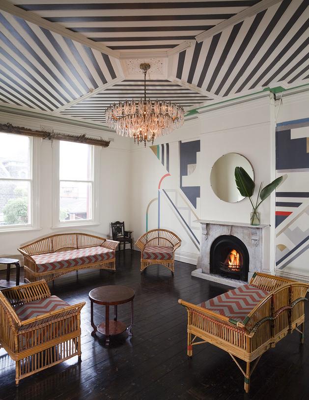 Monochrome Striped Ceiling Design