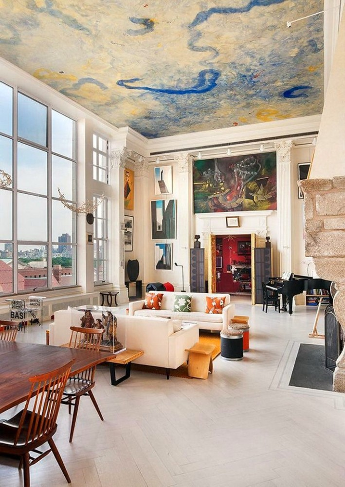 painting inspired ceiling design in a modern home