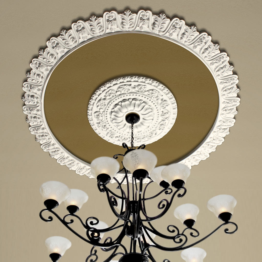 rich beige faux tray ceiling medallion