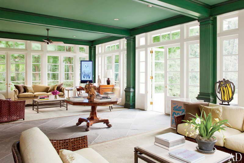 modern traditional emerald green ceiling