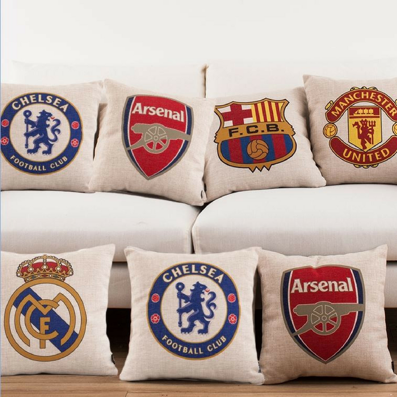 football team pillows for a football themed bedroom