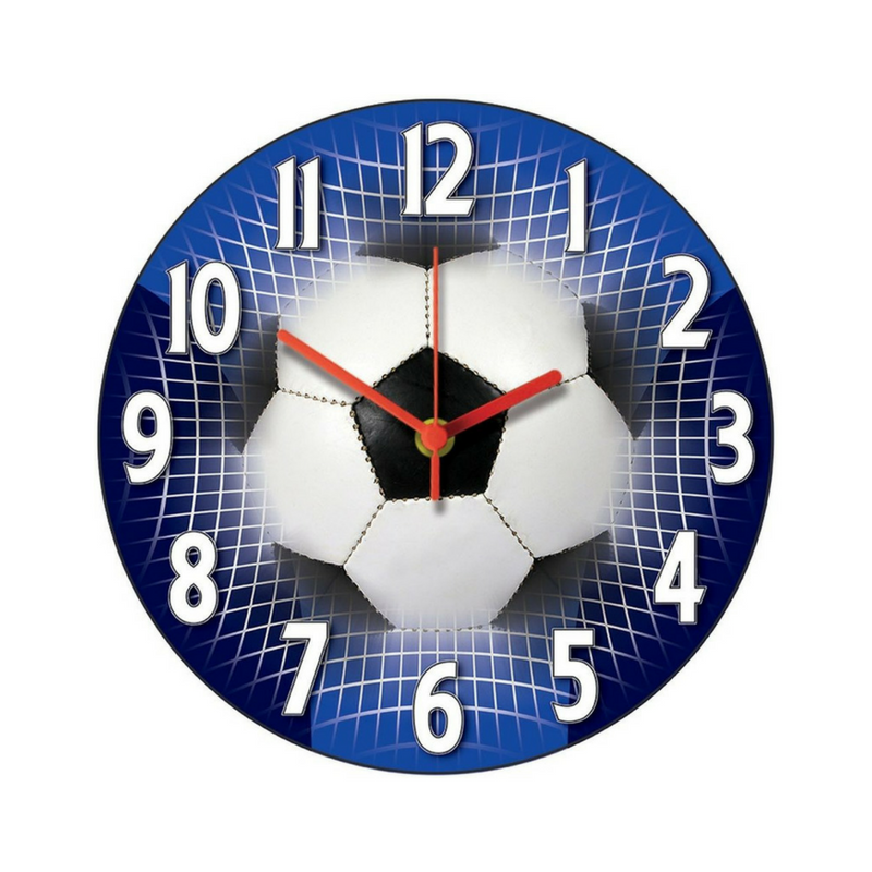 blue football themed bedroom clock