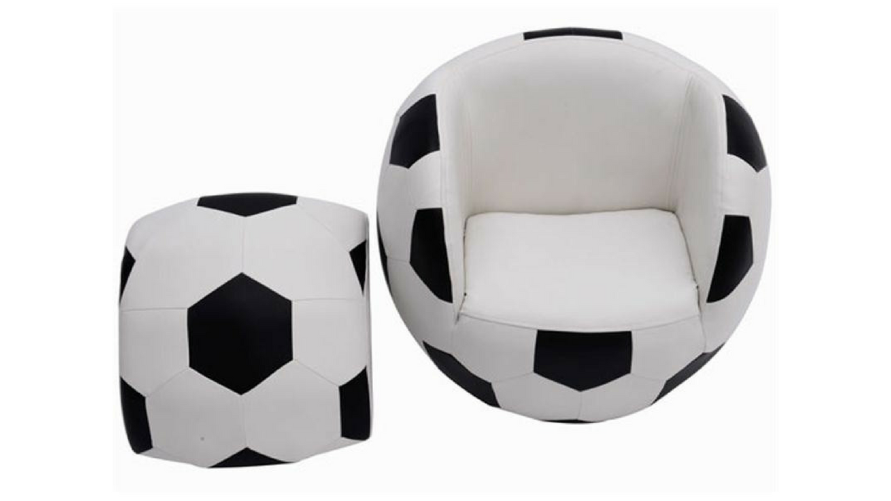 armchair and footstool for a football themed bedroom