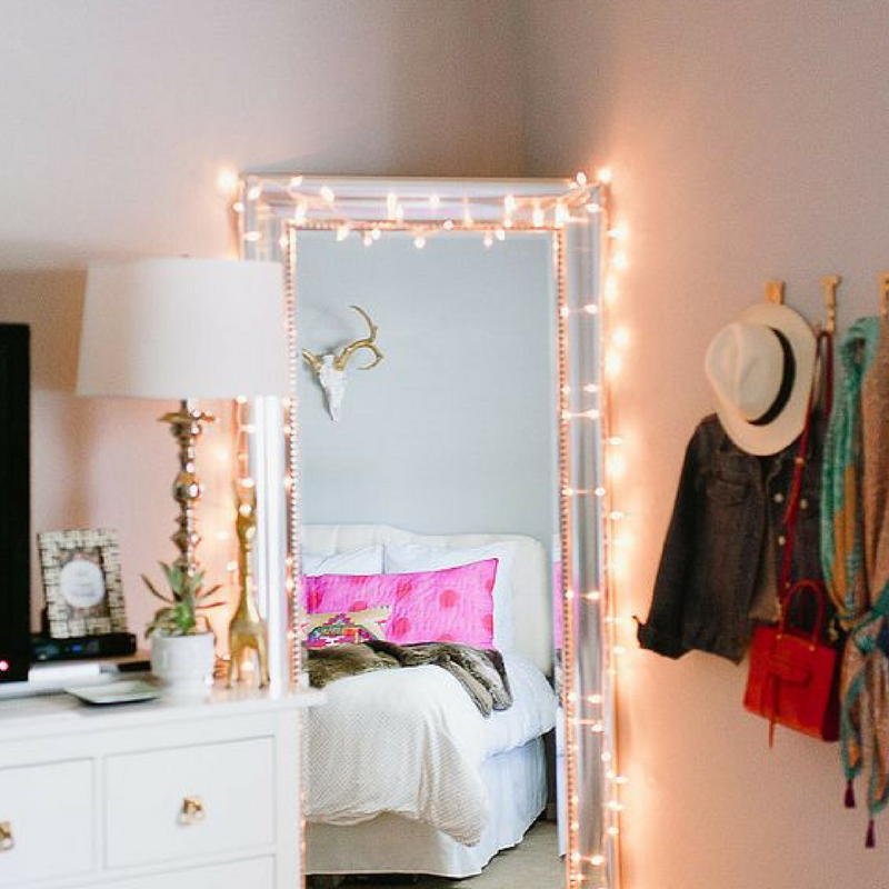 fairy lights on mirror for a student room