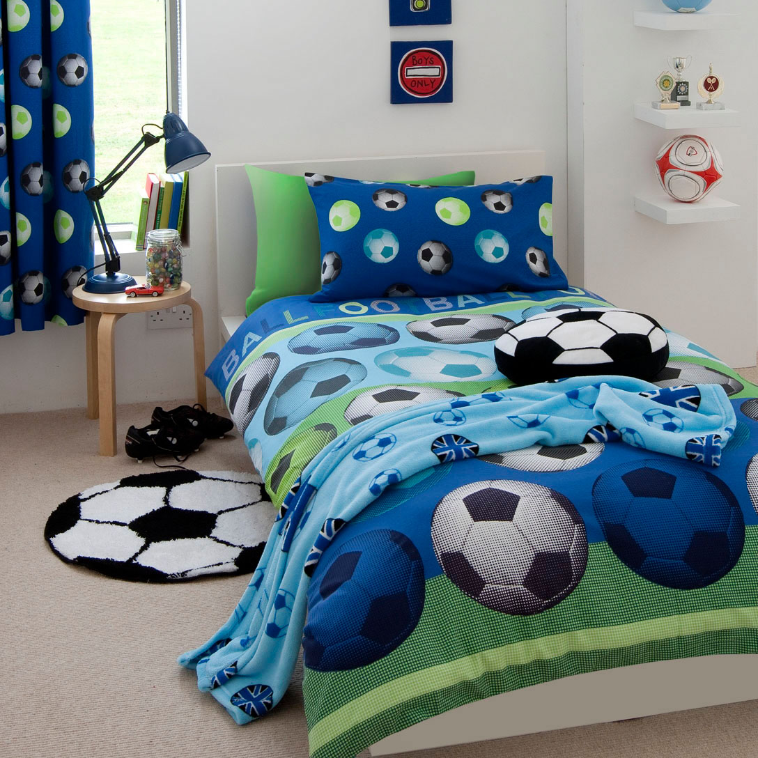 blue football themed bedroom decor