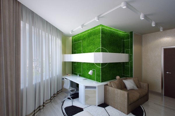 subtler football themed bedroom with a football pitch wall