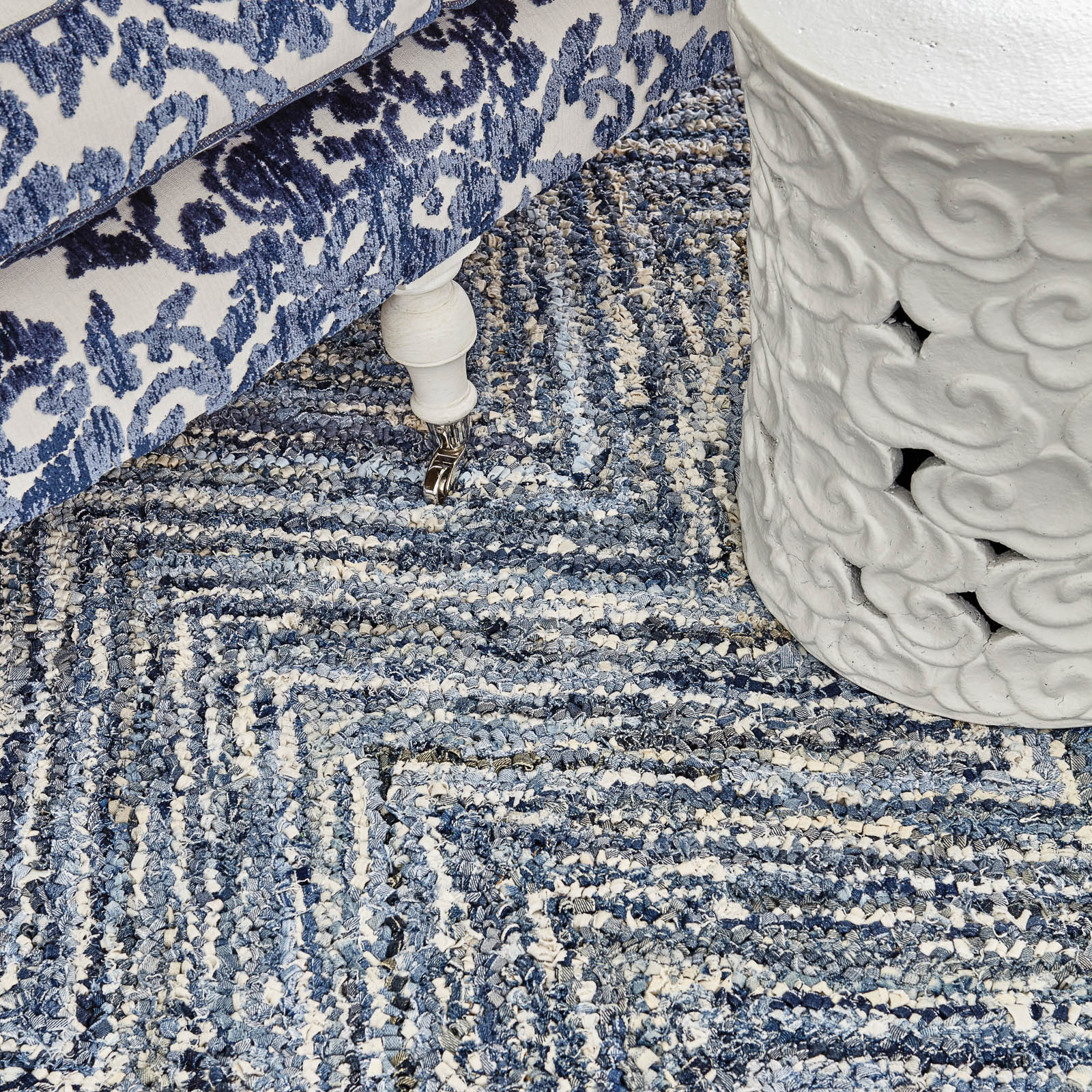 Raggs rugs in Denim by William Yeoward