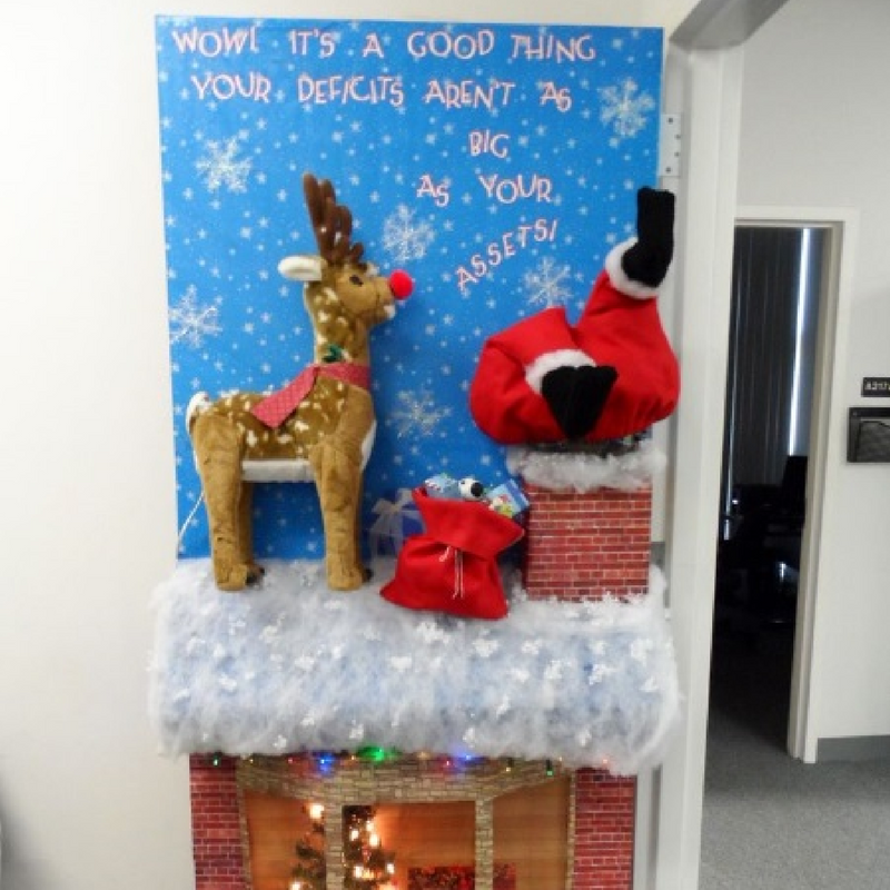3D rudolph and santa going down a chimney with gifts christmas door decoration