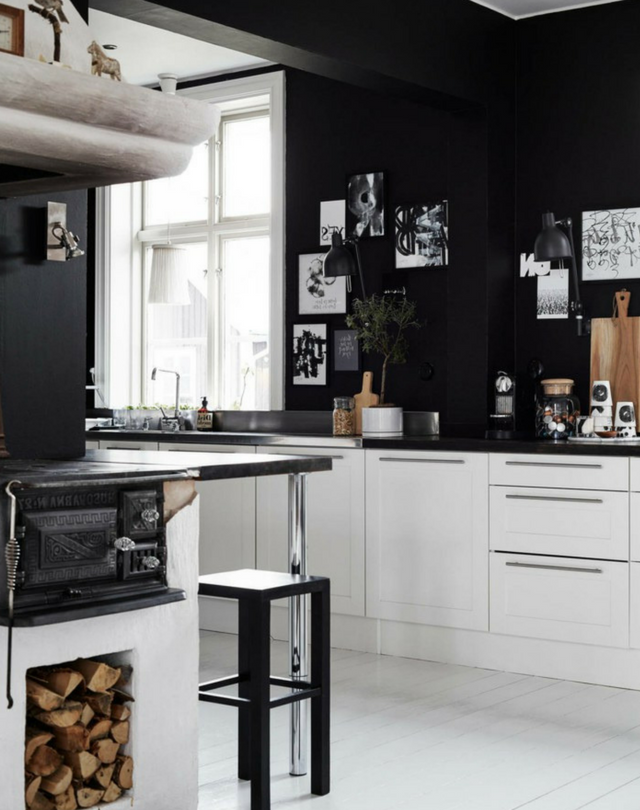dark colours black kitchen walls with white cabinets