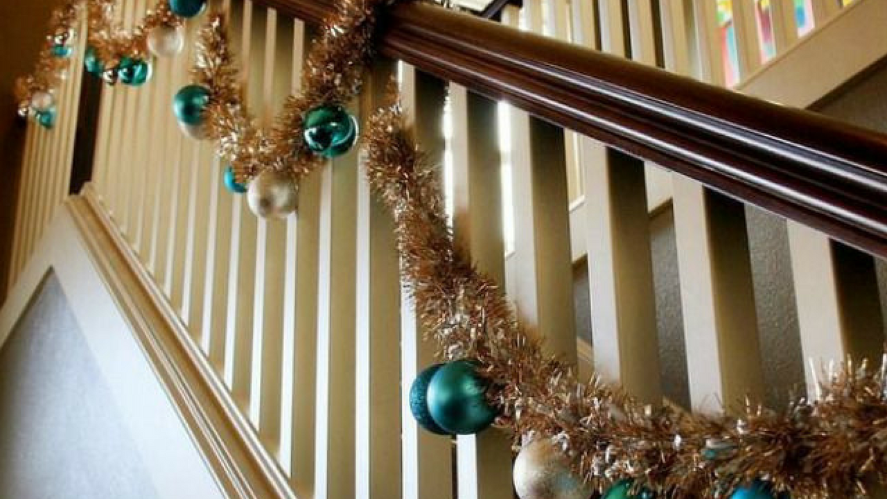 shiny tinsel on a stair Bannister